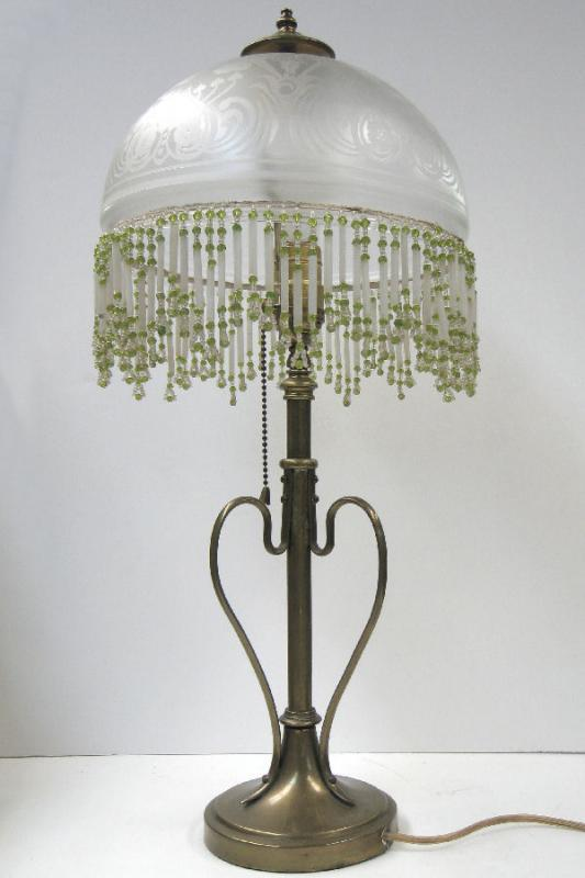 Vintage Secessionist Style Arts & Crafts Brass & Glass Table Lamp