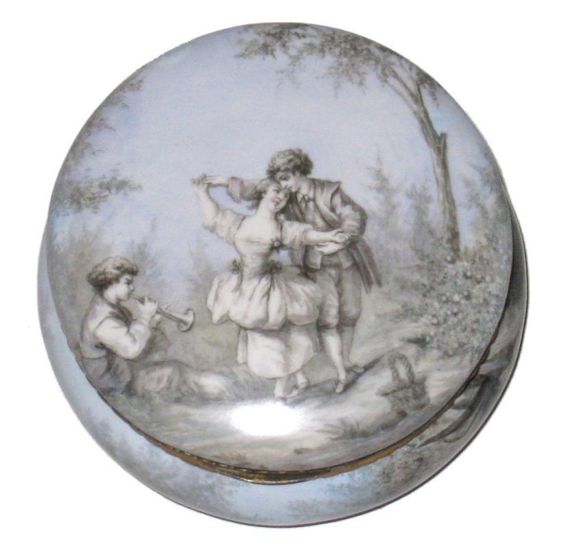 Antique Austrian Enamel Round Jewelry Dresser Box Jar
