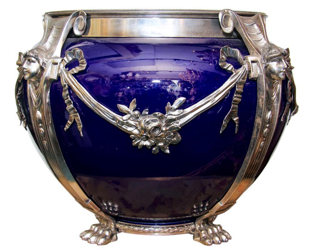 Cobalt Blue Glazed Ceramic & Silverplated Jardiniere Centerpiece