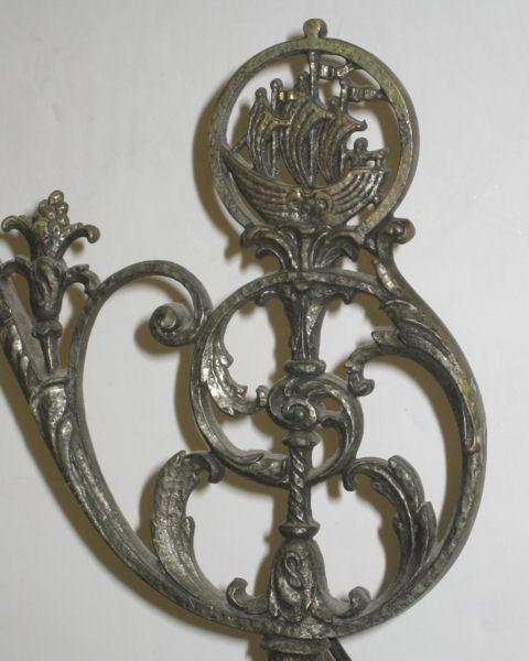 Renaissance Style Oscar Bach Style Antique Metal Floor Lamp