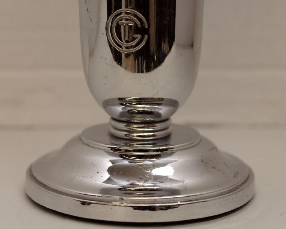 French Art Deco Chrome Plated Vase from French C.G.T. Oceanliner