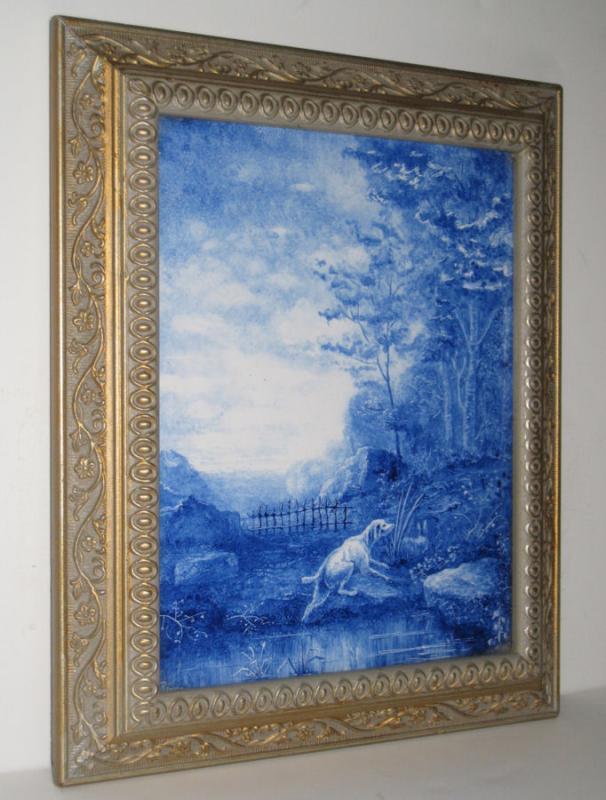 Delft Blue and White Ceramic Plaque in Style of Nicolaes Berchem