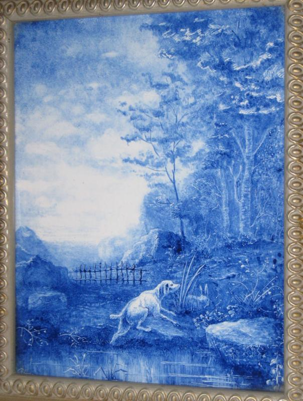 Antique Hunting Hound Dog Blue & White Ceramic Picture Tile