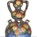 Vintage FBS FSB Czechoslovakian Triple Gourd Ceramic Pottery Vase