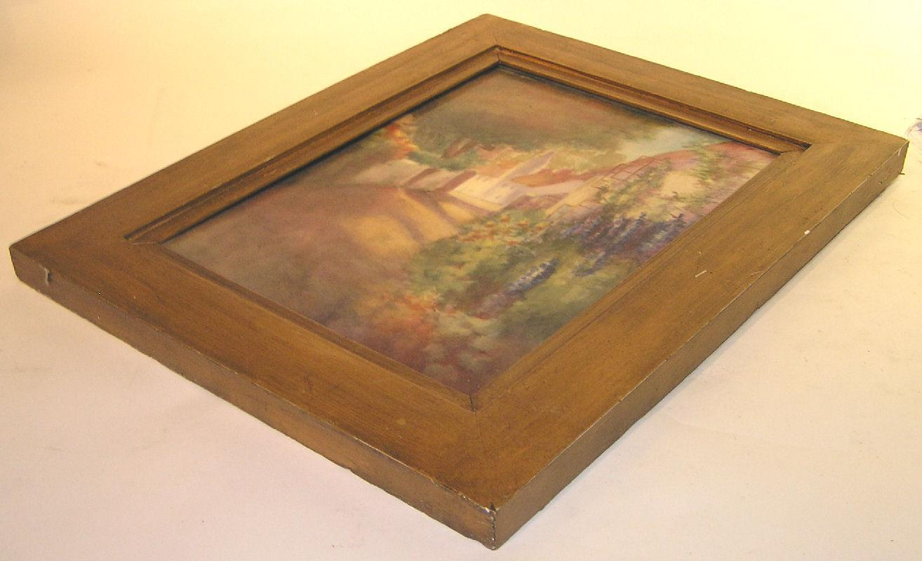 Antique French Impressionist Landscape Painting on Porcelain by T&V of Limoges