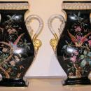 Pair Antique Paris Porcelain Vases in the Aesthetic Style