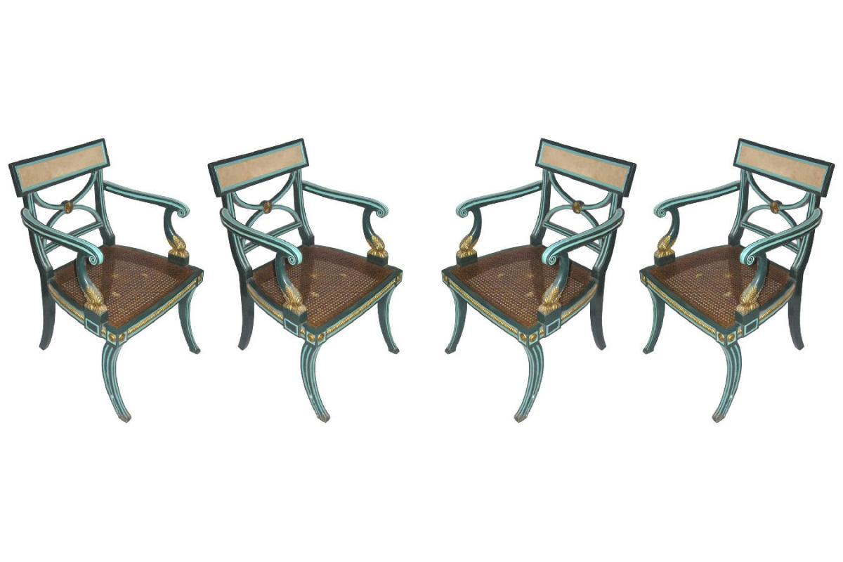 Set of 4 Repro English Regency Georgian Caned Armchairs