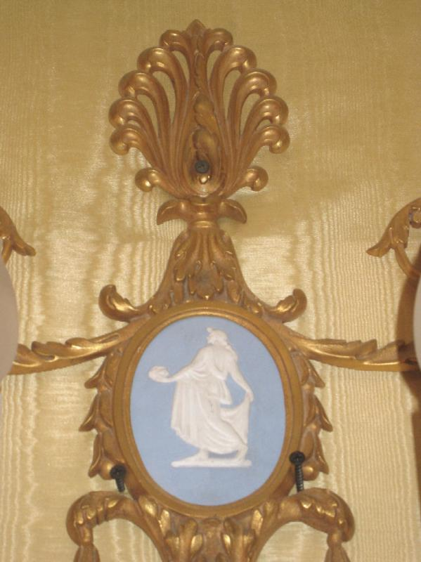 Pair Antique Louis XVI Neoclassical Style Gilt Bronze and Wedgwood Jasperware Five-Candle Sconces