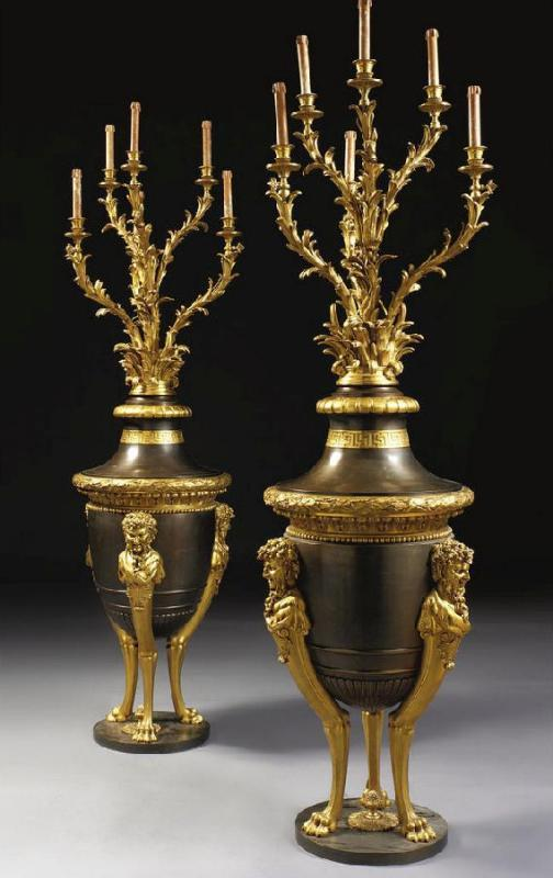 Pair Greek Revival Neoclassical Floor Candelabra Torchieres