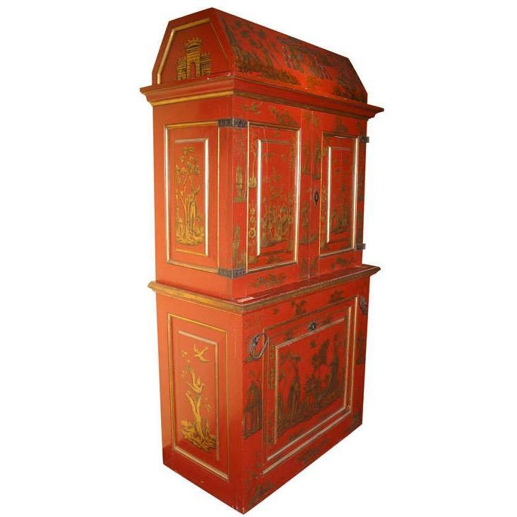 Vintage Chinoiserie Japanned Vermillion Red Cabinet