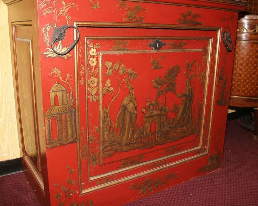 Chinoiserie Japanned Vermillion Red Cupboard Cabinet Bar