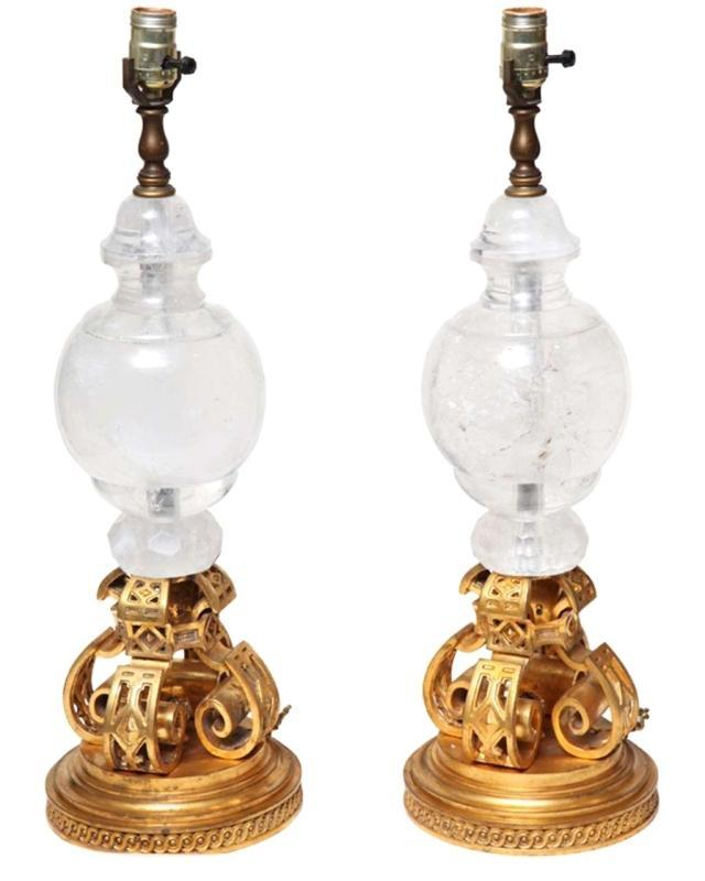 Pair Neo Gothic Gilt Bronze and Rock Crystal Table Lamps