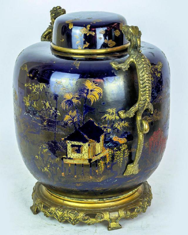 Antique Sevres Chinoiserie Style French Bronze Mounted Porcelain Ginger Jar / Vase
