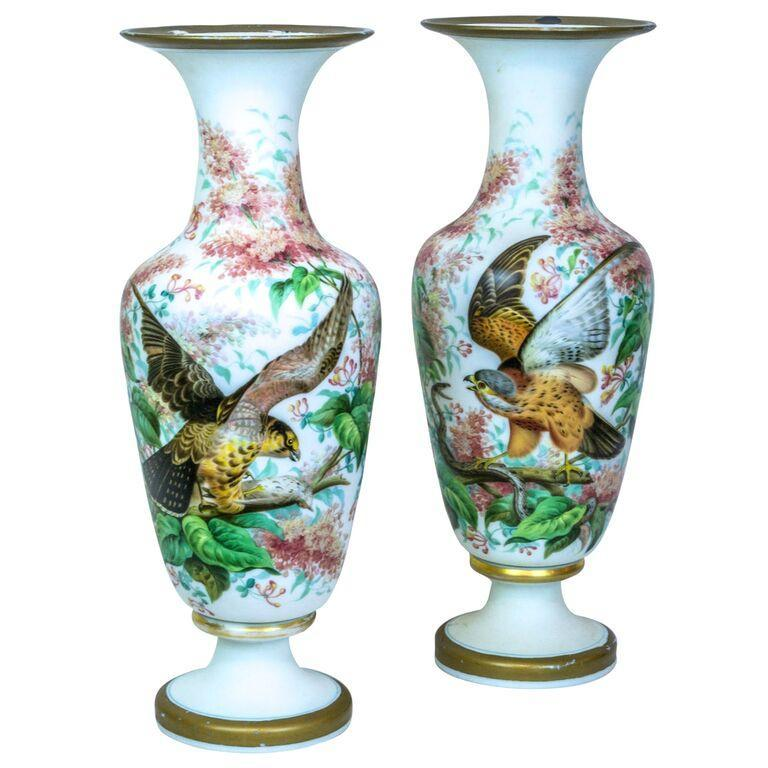 Pair Antique French Painted Opaline Glass Vases