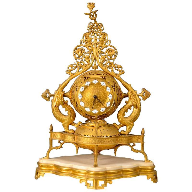 Antique Persian Style French Gilt Bronze Mantel Clock After Geoffroy Dechaume