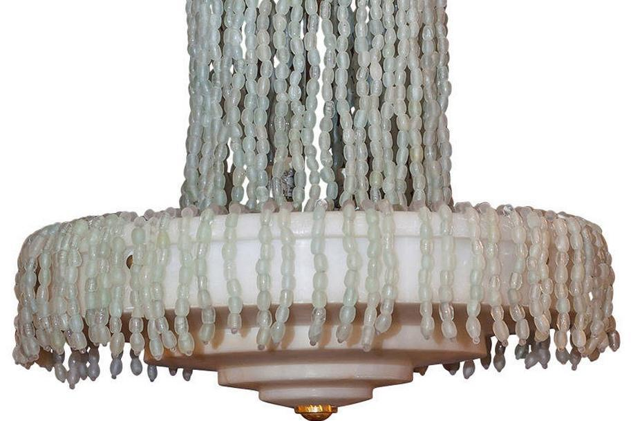 Art Deco Style Alasbaster Stone and Glass Bead Chandelier After Armand Albert Rateau