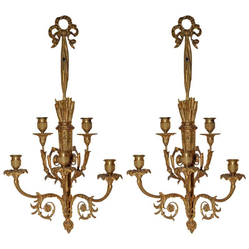 Pair Antique French Louis XVI Style Sconces