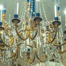 Chandelier French in Louis XVI Style Gilded Bronze and Faux Lapis Lazuli Ston