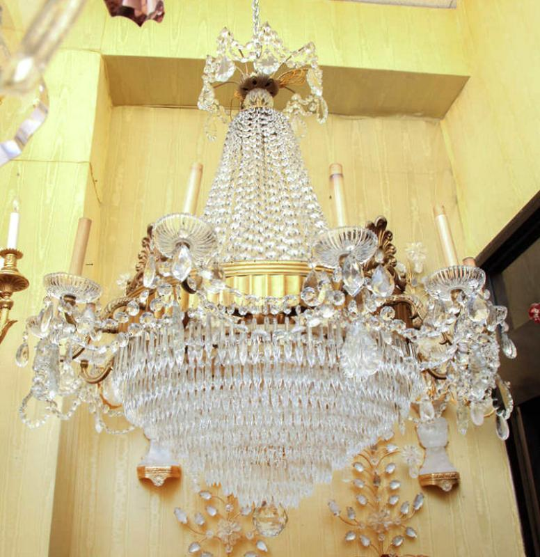 Pair English Regency Style Bronze and Crystal Chandeliers