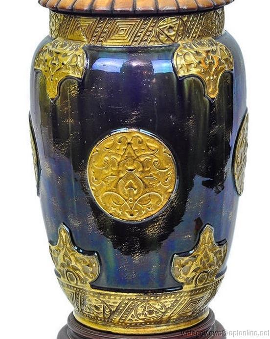 Antique Iridescent Blue Glazed Pottery Vase Lamp