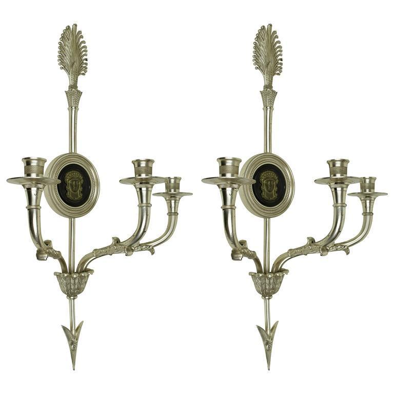 Pair Antique Neoclassical Silvered Bronze Sconces