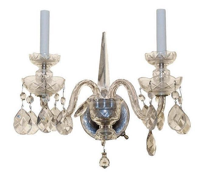 Set of Four (4) Antique Cut Crystal English Georgian Style Sconces