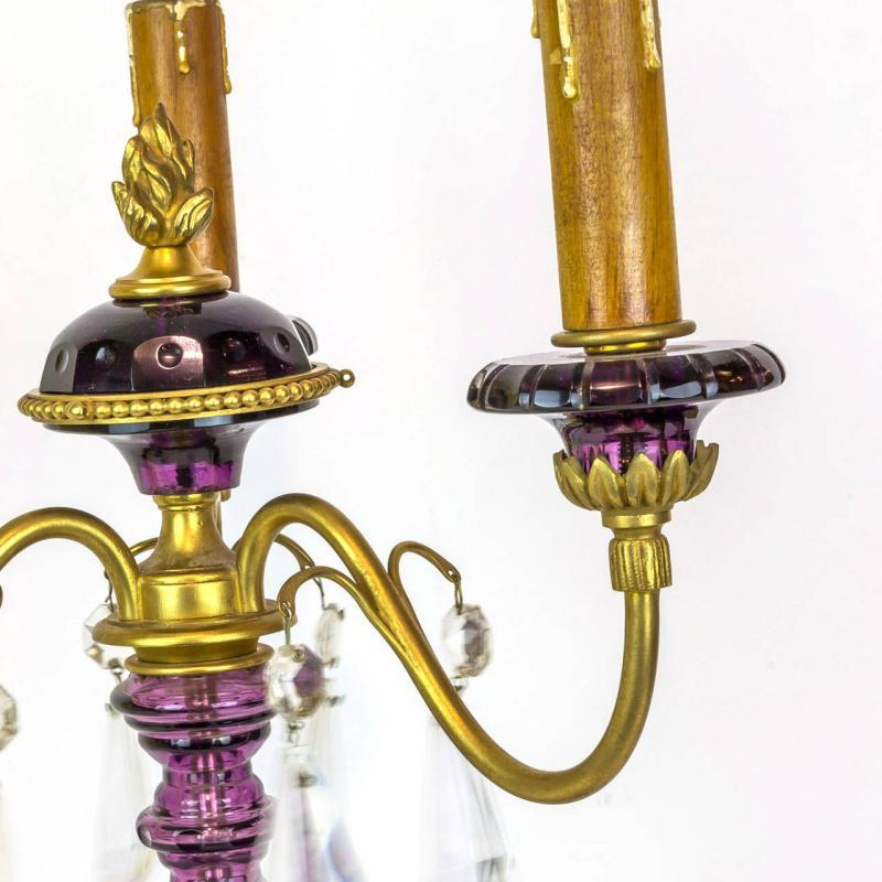 Pair Amethyst Glass and Gilt Metal Candelabra Lamps