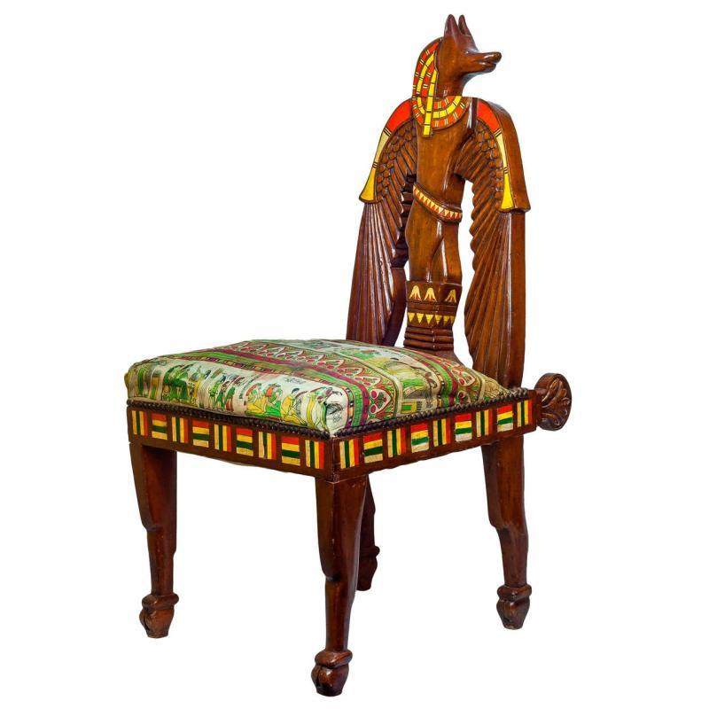 Antique Egyptian Revival Polychrome Painted Side Chair