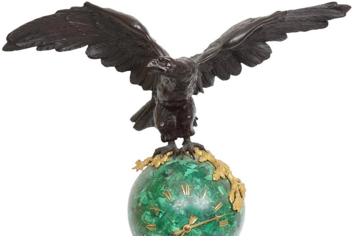 Antique Malachite and Bronze French Empire Style Mantel Clock with Eagle by Marti et Cie of Paris