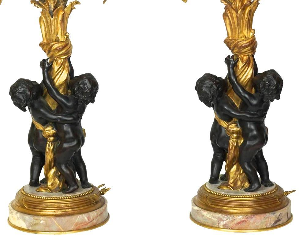 Pair Antique Edward Caldwell Gilt Bronze Neoclassical Candelabra Table Lamps