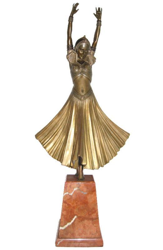 Chiparus Danseuse Indoue ( Hindu Dancer ) Art Deco Bronze Figurine Sculpture