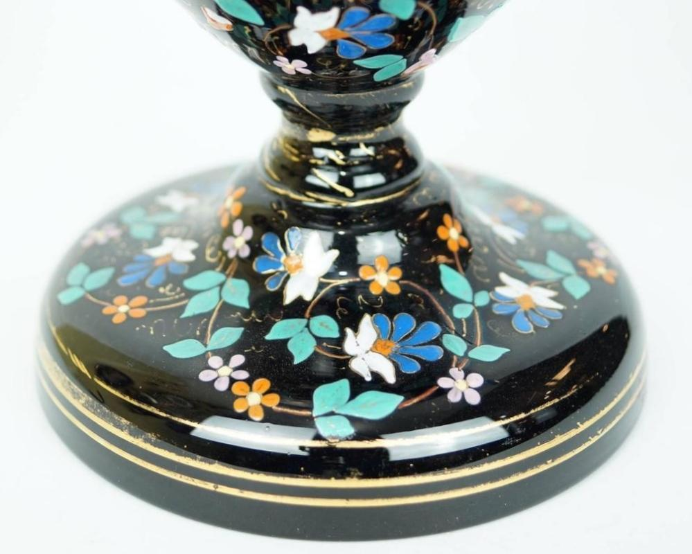 Pair Antique Moser Bohemian Enamelled Black Glass Vases