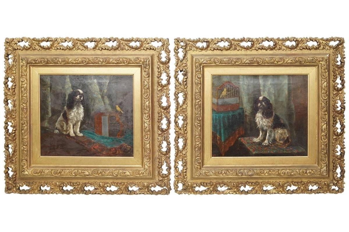 Pair William Simpson (1866-1909) Oil Paintings of King Charles Spaniel Dogs