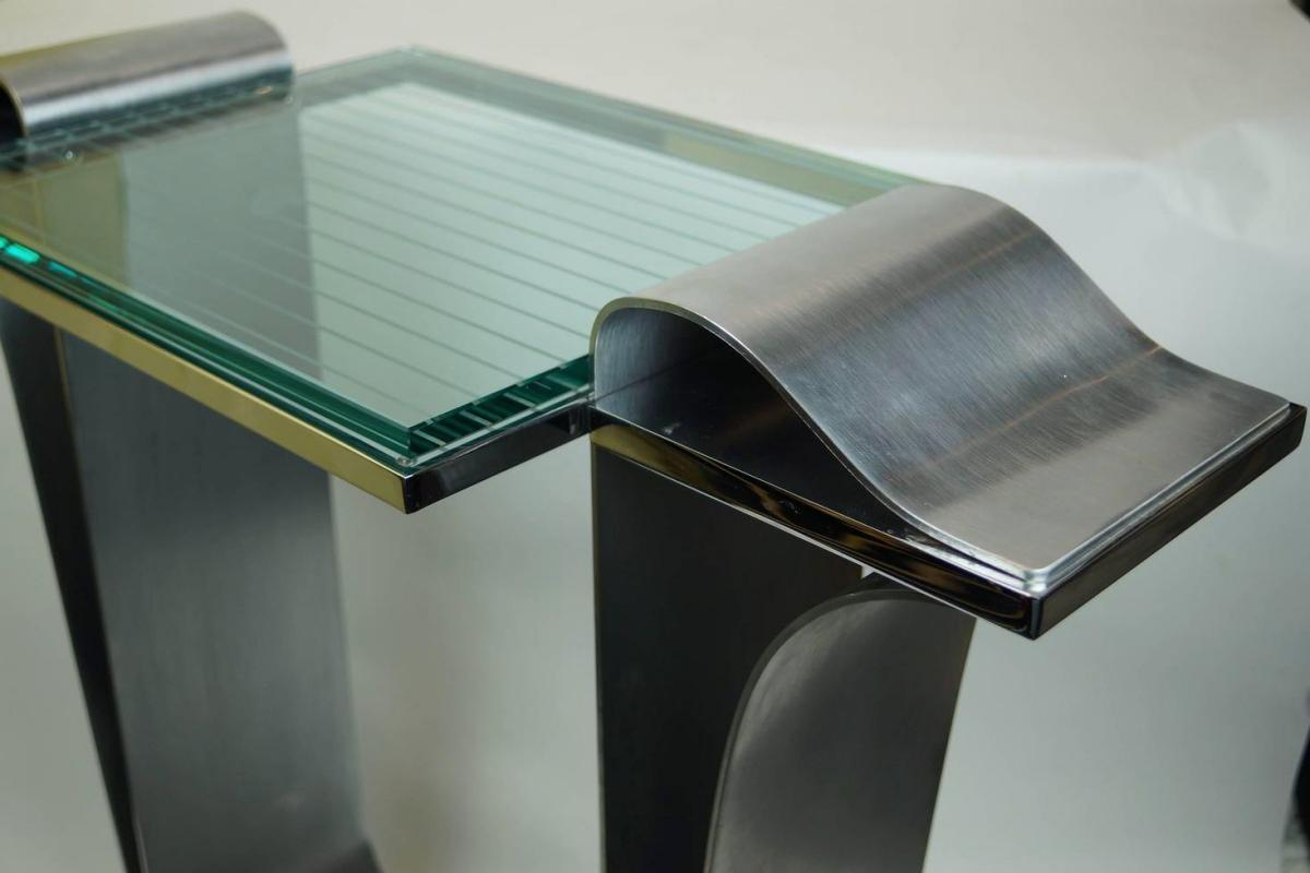 Jay Spectre Vintage Mid-Century Modern Chromed Brushed Steel and Glass Console Table
