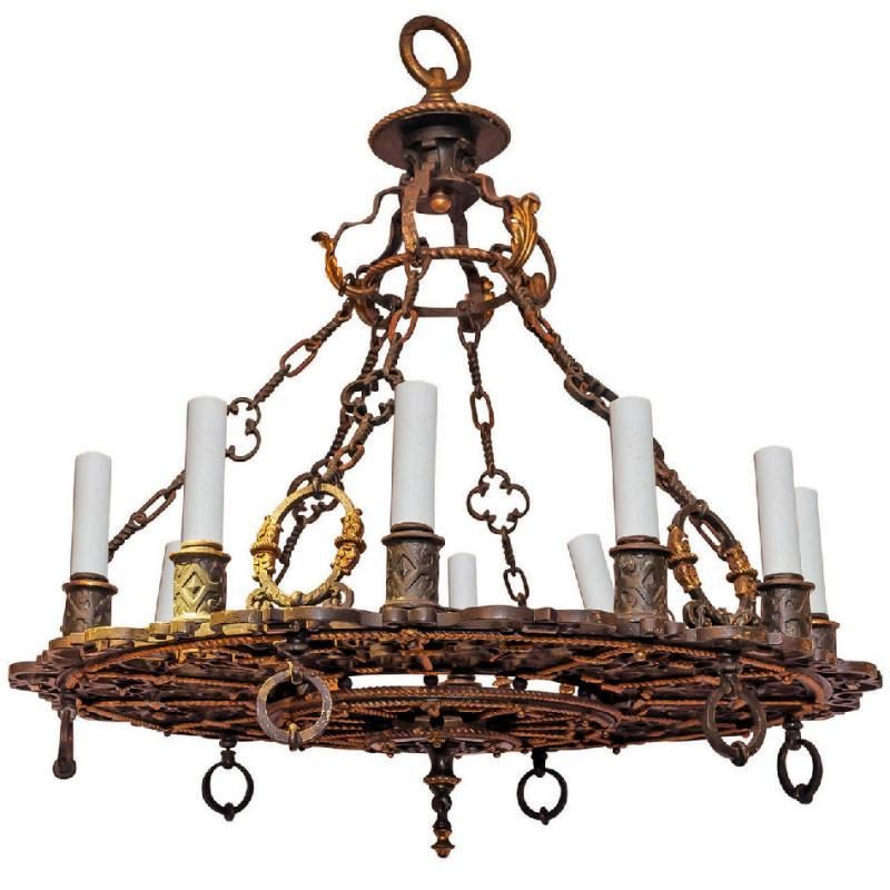 Antique Gothic Medieval Style Parcel-Gilt and Patinated Bronze 12 Light Chandelier