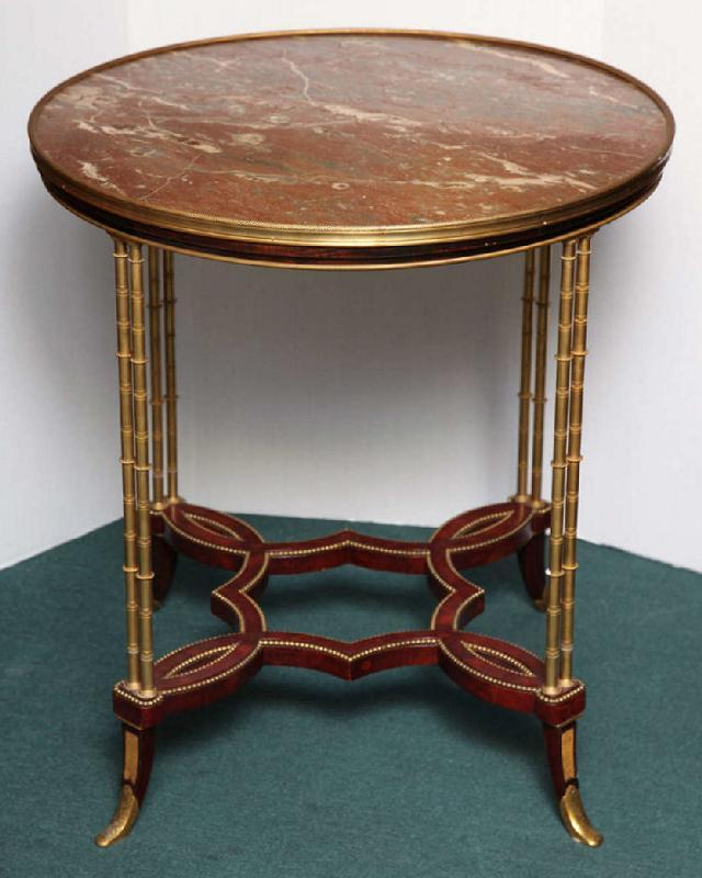 Antique French Louis XVI Style Marble and Bronze Gueridon Side Table