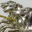 Silvered and Gilt Bronze Roman Chariot Warrior Sculpture