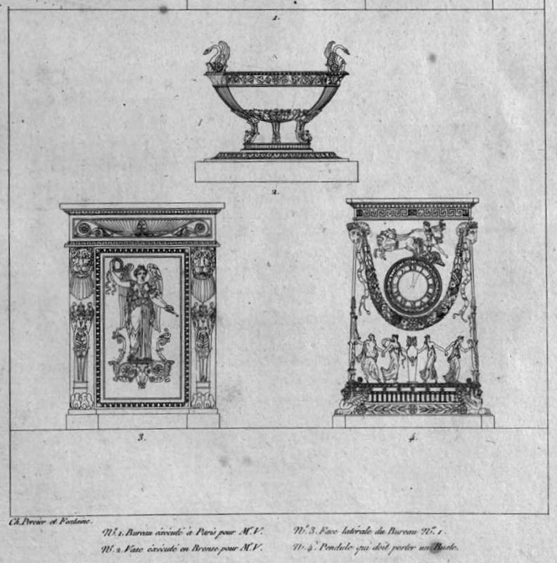 Antique French Empire Gilt Bronze Mantel Clock by Percier et Fontaine