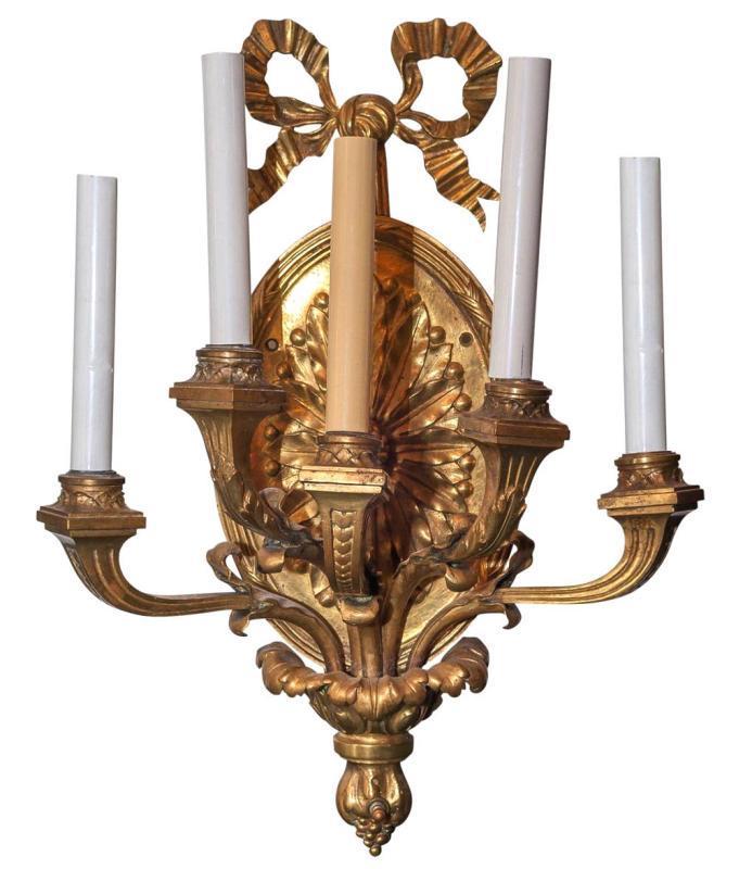 Pair Antique Gilt Bronze British Robert Adam Style Sconces