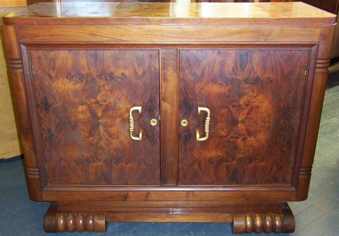 French Art Deco Figured Walnut Sideboard