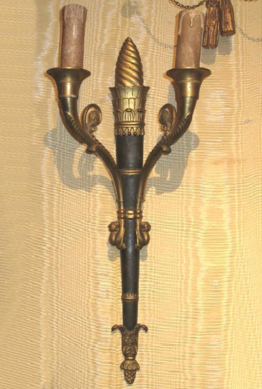 Pair Antique Gilt Bronze Torch Form Sconces
