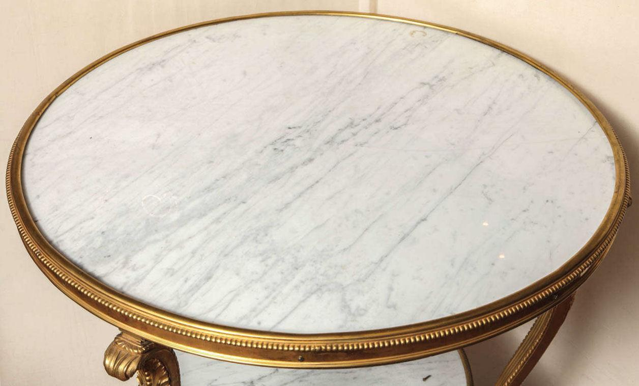 Antique French Louis XVI Style White Marble and Bronze Gueridon Side Table