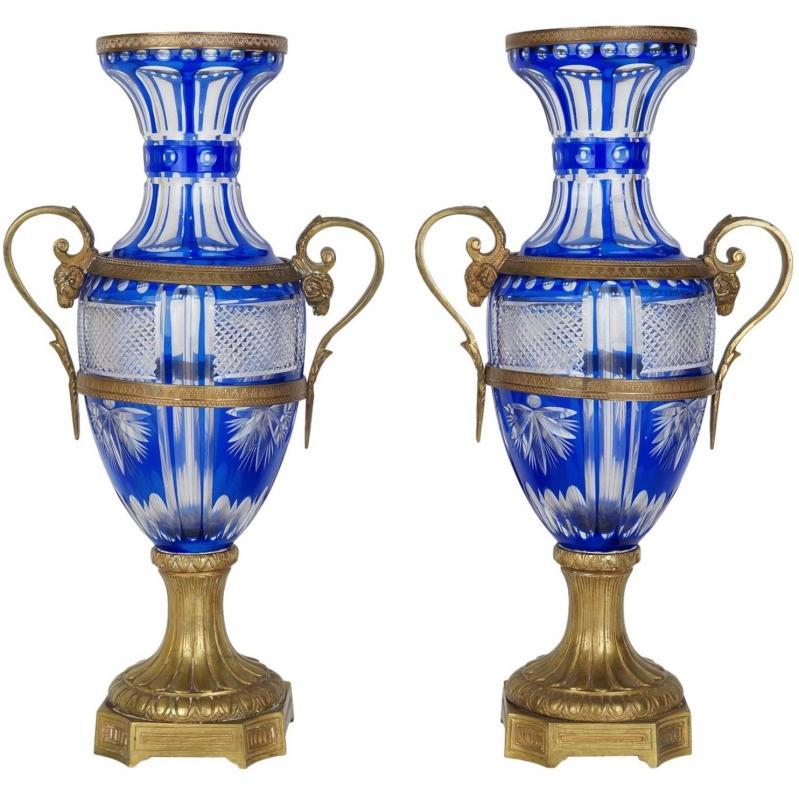 Pair Antique Bronze Mounted Royal Blue Flashed Cut-To-Clear Engraved Glass Vases in Empire Style