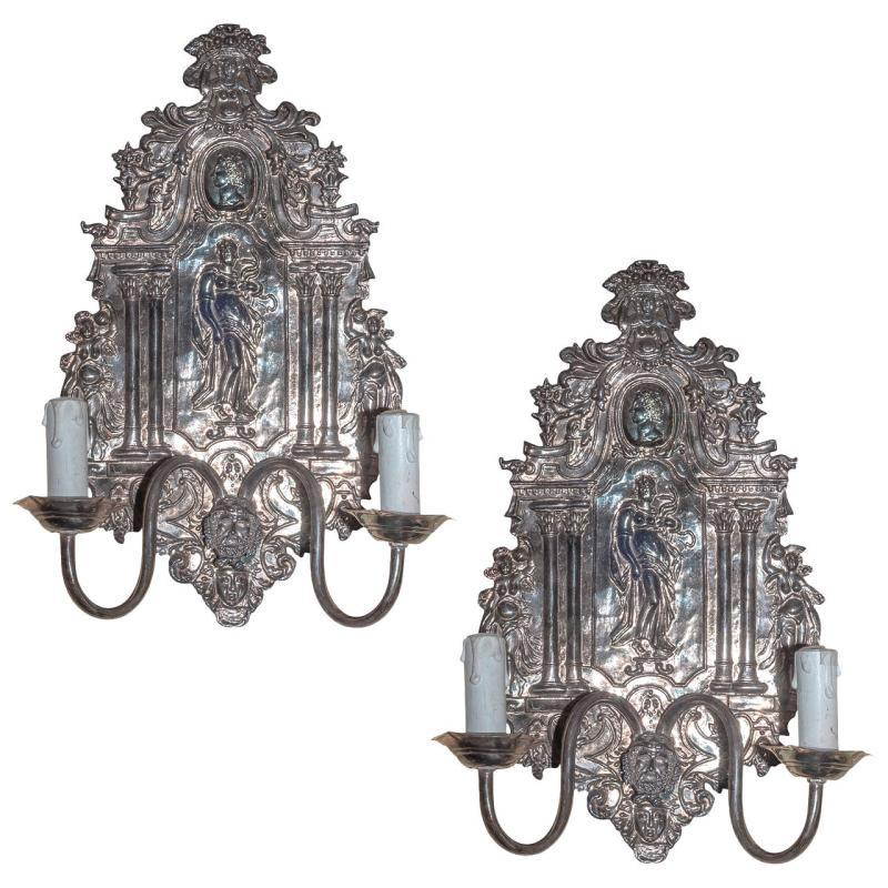 Pair Antique Baroque Neoclassical Silverplated Repousse Sconces