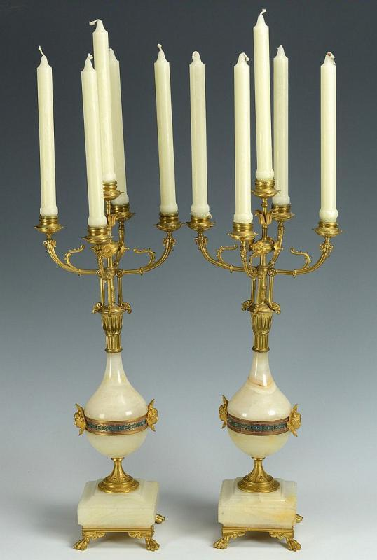 Pair Renaissance Revival Champleve Enameled Onyx and Bronze Candelabra