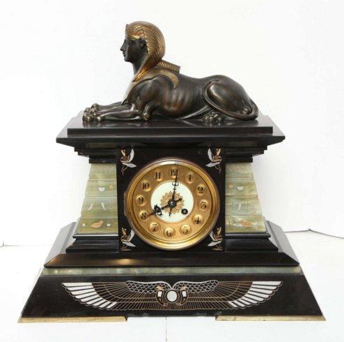 French Empire Egyptian Revival Mantel Clock Garniture