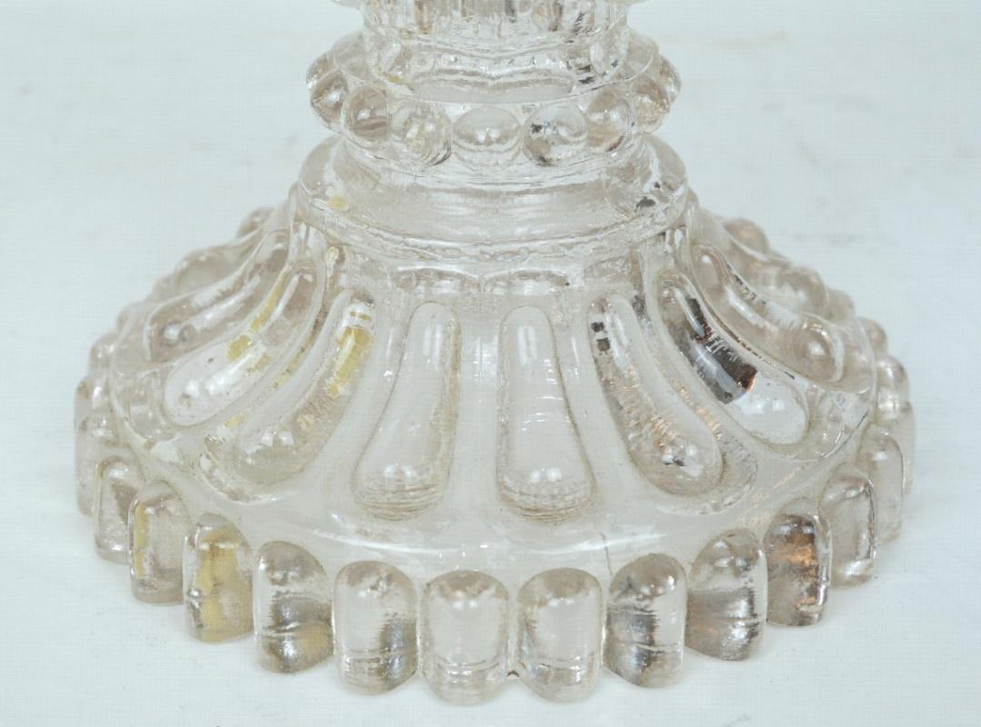 Antique Baccarat Style Molded Crystal Glass Candelabra