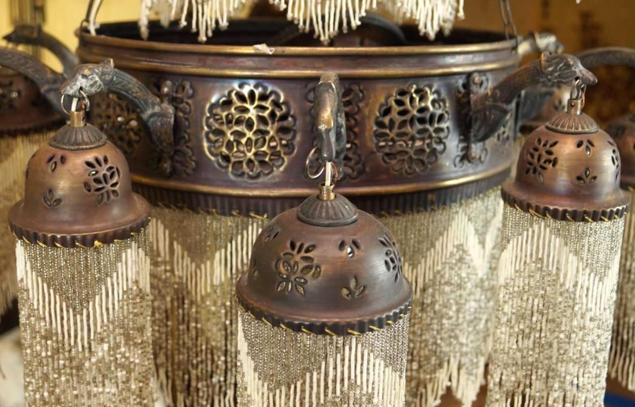 Vintage Moorish Moroccan Style Brass Chandelier