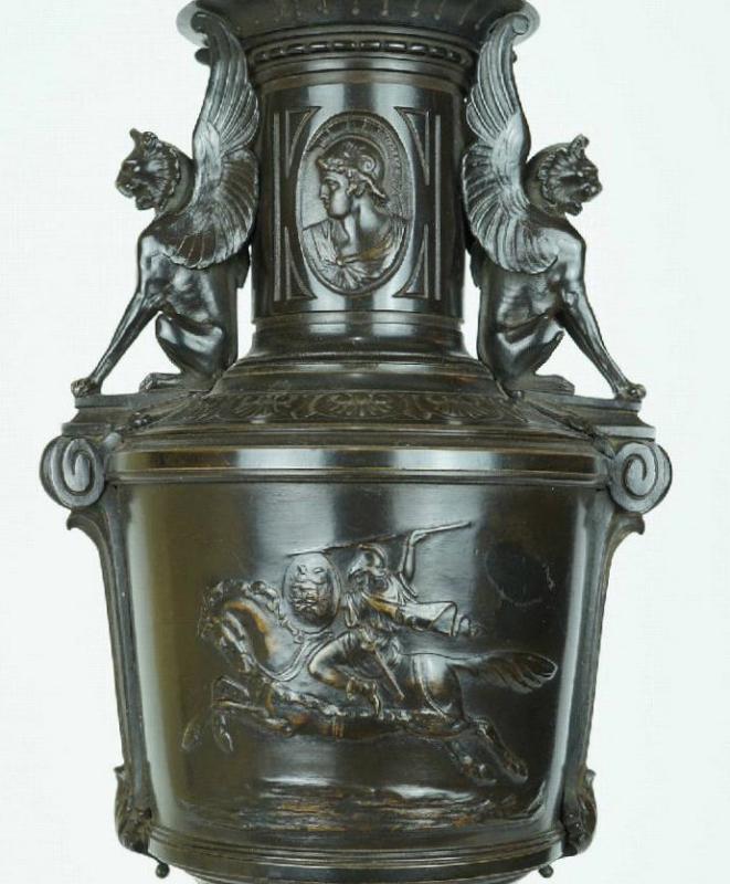 Pair Antique Greek Roman Neoclassical Bronze Table Lamps