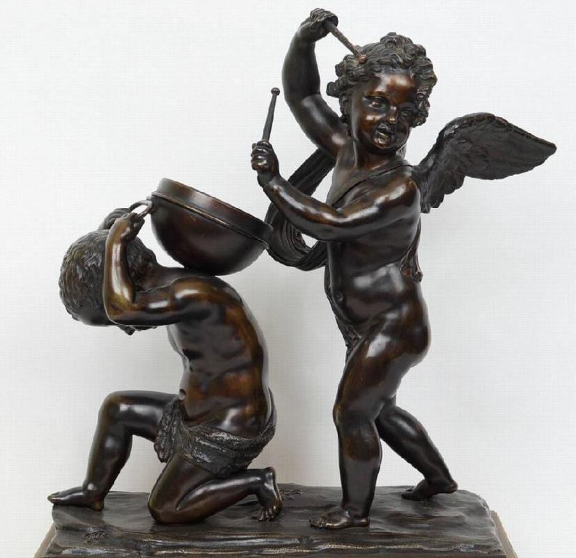 Bronze Sculpture After Clodion Depicting Drum-Playing Putti Cherubs